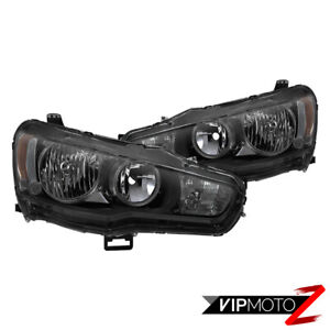 2008 2017 Mitsubishi Lancer Darkest Smoke Factory Style Headlights Lamps Pair
