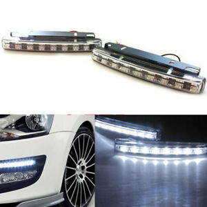 2pcs Super White 8 Led Universal Car Drl Daytime Running Head Light Lamp Dc 12v