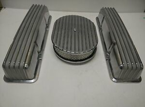 Small Block Chevy Aluminum Valve Covers Air Cleaner Tall Full Finned No Holes