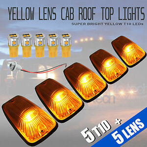 5pcs Yellow Led Roof Top Truck Suv Cab Marker Running Clearance Lights Set Kit