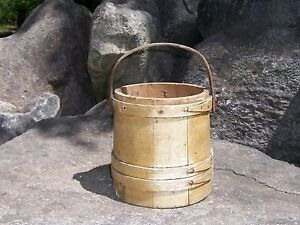 Aafa Early Firkin Wood Bucket Pail Original Paint Marked Starch Antique