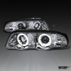 Fit 1999 2001 Bmw E46 3 series 4dr Dual Halo Angel Eye Projector Headlights Pair