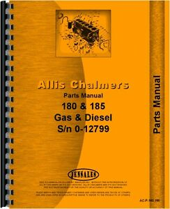 Allis Chalmers 180 sn6644 12985 185 sn1001 12799 Tractor Parts Manual