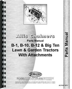 Allis Chalmers B 1 B 10 B 12 Lawn Garden Tractor Parts Manual ac p b 1 Etc