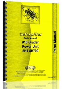 Caterpillar 10 Grader Parts Manual s n 5h1 5h700