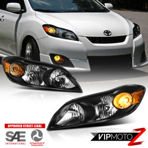 For 09 14 Toyota Matrix factory Style Black Headlight Assembly Amber Reflector