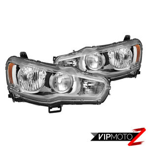 Factory Style 2008 2017 Mitsubishi Lancer Chrome Housing Headlamps Lights Set
