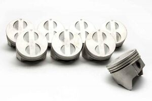 Chevy 350 5 7 Sealed Power trw federal Cast Flat Top Pistons moly Rings 40