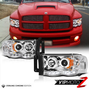 2002 2005 Dodge Ram 1500 Chrome Halo Led Projector Headlight 03 05 Ram 2500 3500