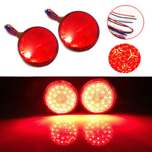 2 Red 24led Motorcycle Motor Scooter Round Reflector Brake Turn Signals Light