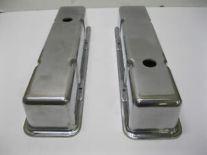 Chevy Tall Polished Aluminum Valve Covers Sbc 283 305 350 5 0 5 7 Clear Rockers