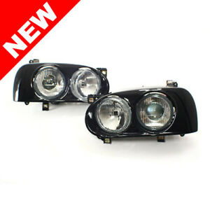 Vw Mk3 Golf gti Hella Style Dual Round Projector Headlights W Black Frames