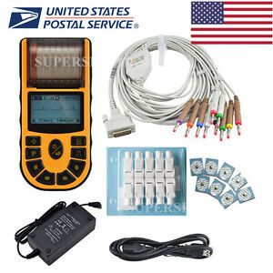 Usa Fda Handheld Ecg ekg Machine 1 Channel 12 Lead Disposable Electrodes printer