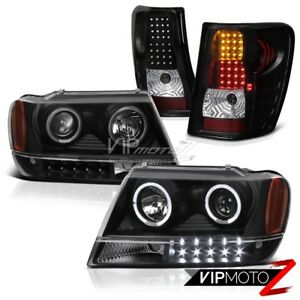 Jeep 99 04 Grand Cherokee Wg Black Halo Projector Headlight Led Tail Light Lamp