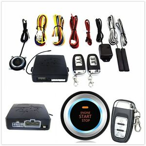 1set Car Security Alarm System Keyless Entry Remote Start Push Button Universal