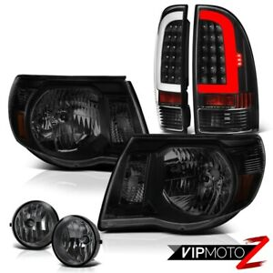 For 05 11 Toyota Tacoma Black Led Rear Smoke Tinted Head Lights Smoked Fog Pair