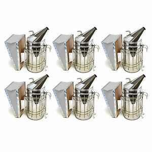 Set Of 6 Bee Hive Smoker Stainless Steel W Heat Shield Beekeeping Equipment Sw