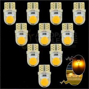 10pcs Amber Yellow Silicone Shell T10 Wedge Cob Led Light Bulbs W5w 192 168 194
