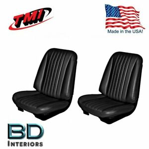 1968 Chevy Chevelle Front Bucket Seat Rear Upholstery Black By Tmi In Stock