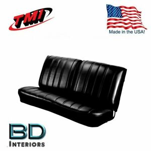 1966 Chevy Chevelle El Camino Split Front Bench Seat Upholstery Black By Tmi
