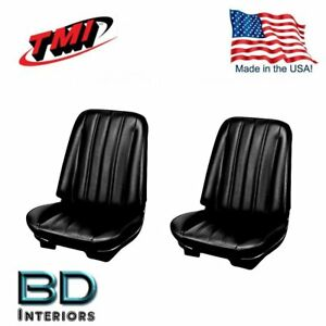 1966 Chevy Chevelle Front Buckets Rear Seat Upholstery Black Made In Usa Tmi