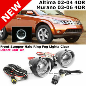 For Altima 02 04 Murano 03 04 Projector White Halo Fog Lights Lamps Clear Lens