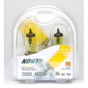 Nokya Hyper Yellow H4 9003 Pro Halogen Headlight Fog Light Bulb 2500k Stage