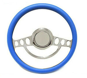 Chrome Blue Steering Wheel 14 For Ididit Flaming River Column Hot Rod Street
