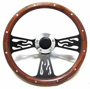 Hot Rod Mahogany Custom Billet Steering Wheel Kit For Flaming River Gm Column