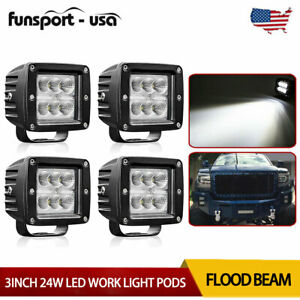 4x 3inch Cree Led Work Light Cube Pods Driving 24w Flood Offroad Bumper Suv Atv