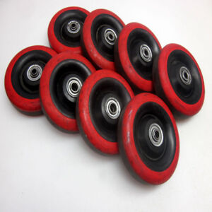 Lot Of 8 Solid Polyurethane Wheels 5 X 1 3 4 With 1 4 Inner Axle Red black