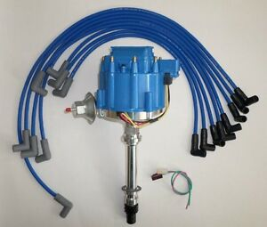 Small Block Chevy Blue Hei Distributor 8mm Spark Plug Wires Over Valve Covers