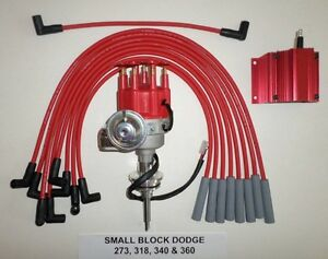 Dodge 273 318 340 360 Red Small Cap Hei Distributor 50k Coil Spark Plug Wires