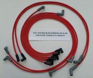 Big Block Mopar 400 440 1973 1978 W Hei Cap Red Spiral Core Spark Plug Wires