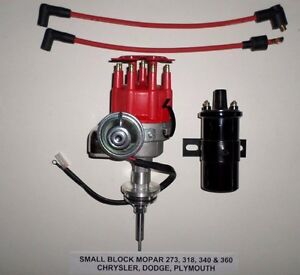 Mopar Small Block 273 318 340 360 Red Small Cap Hei Distributor Black 45k Coil