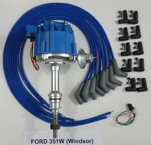 Ford 351w Windsor Blue Hei Distributor Universal Spark Plug Wires Made In Usa