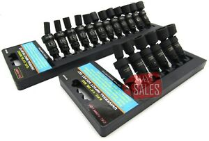 18pc 1 4 Drive Universal Ball Swivel Deep Impact Socket Set Sae