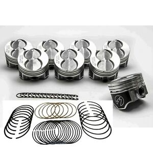 Ford 351w 5 8l Speed Pro Hypereutectic Flattop Pistons Moly Rings 020 Oversize