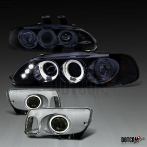 For 1992 1995 Honda Civic 2 3dr Glossy Black Projector Headlights Fog Lamps Pair
