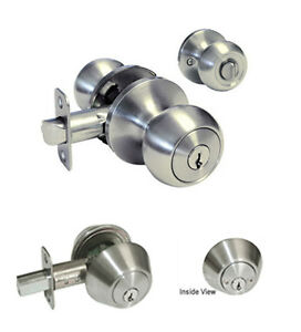 Entrance Keyed Entry Satin Nickel Round Knob Double Deadbolt Combo Door Lock