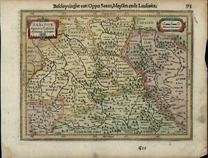 Saxony Northern Germany Bohemia Lusatia Antique C 1628 Mercator Minor Old Map