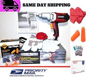 Chicago Electric Impact Wrench 1 2 Dr W Work Gloves 2 Ear Plugs