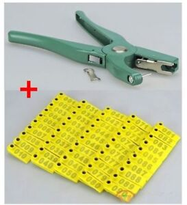 Sheep Goat Hog Cattle Beef Cow Ear Tag Plier Applicator Puncher Tagger 100 Set