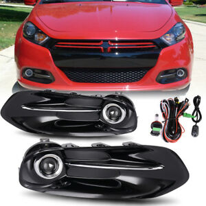 For 2013 2016 Dodge Dart Clear Front Bumper Fog Light Lamps Kit W Wiring switch