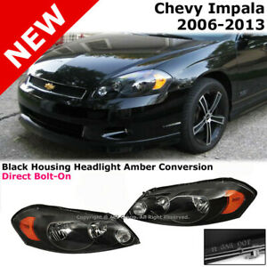 Chevy Impala 06 13 Monte Carlo Headlights Lamp Conversion Black Amber Clear Lens