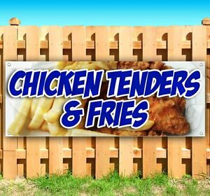 Chicken Tenders And Fries Advertising Vinyl Banner Flag Sign Many Size Available