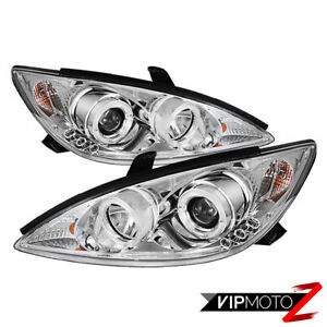 For Toyota Camry 2002 04 Angel Eye Halo Chrome Projector Headlight Signal Lamp