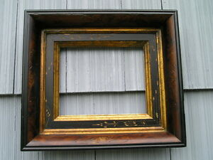 Rare Antique Aesthetic Eastlake Victorian Aged Carved Deep Picture Frame 8 X 10