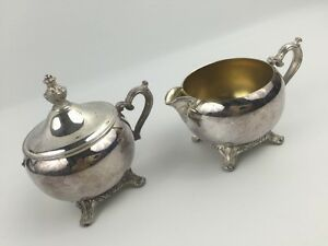 Sugar Bowl With Lid Creamer Cup Silver Plated Shabby Victorian Chic Retro