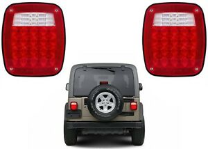 Pair Replacement Led Tail Lights For Jeep Wrangler Tj Yj New Free Shipping Usa